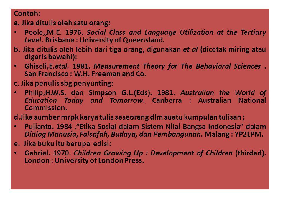 Contoh: a. Jika ditulis oleh satu orang: • Poole,,M.E. 1976. Social Class and Language Utilization at the Tertiary Level. Brisbane : University of Que
