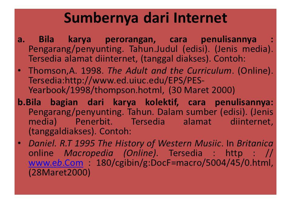 Sumbernya dari Internet a. Bila karya perorangan, cara penulisannya : Pengarang/penyunting. Tahun.Judul (edisi). (Jenis media). Tersedia alamat diinte