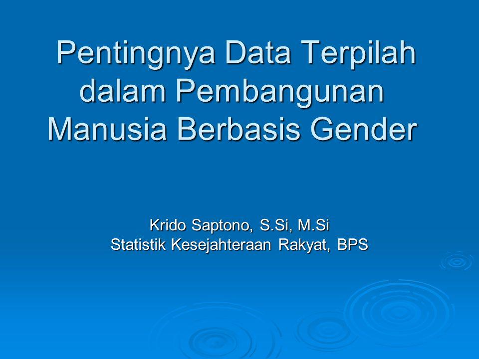 Pentingnya Data Terpilah dalam Pembangunan Manusia Berbasis Gender Pentingnya Data Terpilah dalam Pembangunan Manusia Berbasis Gender Krido Saptono, S