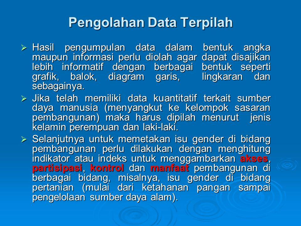 Pengolahan Data Terpilah  Hasil pengumpulan data dalam bentuk angka maupun informasi perlu diolah agar dapat disajikan lebih informatif dengan berbag