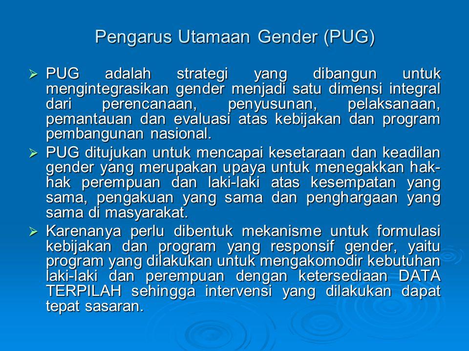 Pengarus Utamaan Gender (PUG)  PUG adalah strategi yang dibangun untuk mengintegrasikan gender menjadi satu dimensi integral dari perencanaan, penyus