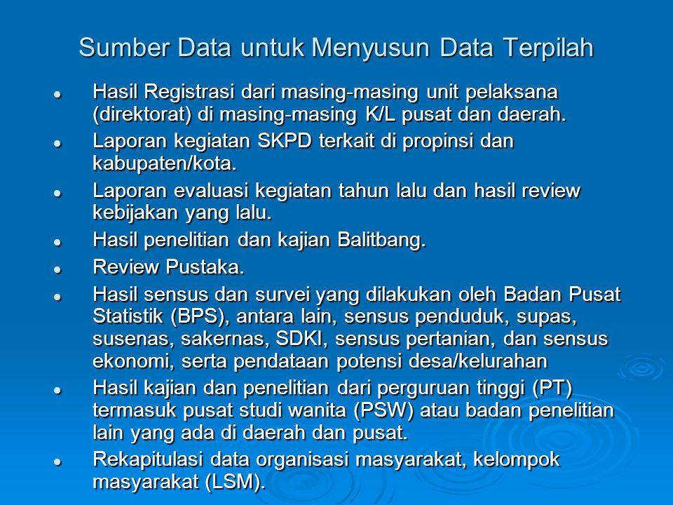 Sumber Data untuk Menyusun Data Terpilah  Hasil Registrasi dari masing-masing unit pelaksana (direktorat) di masing-masing K/L pusat dan daerah.  La