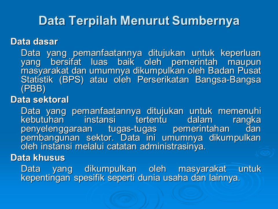 Data Terpilah Menurut Sumbernya Data dasar Data yang pemanfaatannya ditujukan untuk keperluan yang bersifat luas baik oleh pemerintah maupun masyaraka
