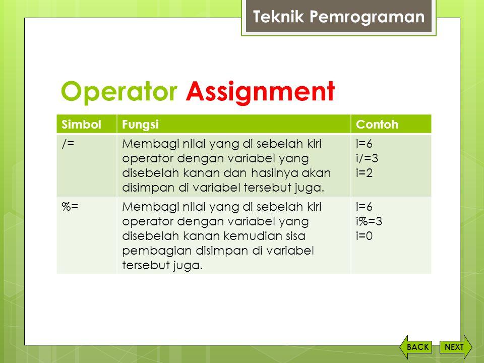 Operator Assignment NEXTBACK SimbolFungsiContoh /=Membagi nilai yang di sebelah kiri operator dengan variabel yang disebelah kanan dan hasilnya akan d