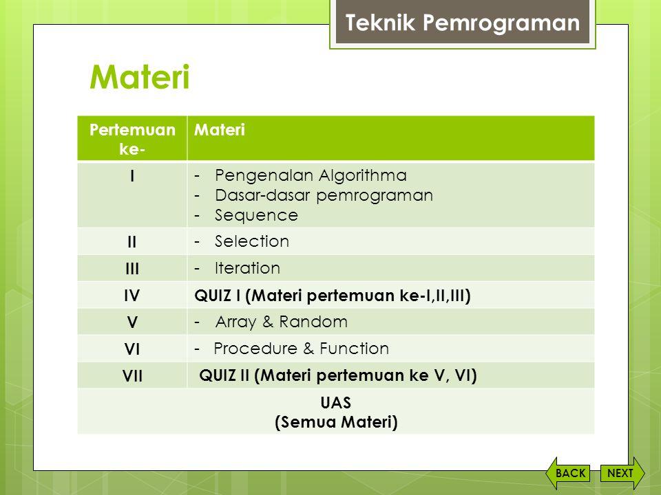 Materi NEXTBACK Teknik Pemrograman Pertemuan ke- Materi I -Pengenalan Algorithma -Dasar-dasar pemrograman -Sequence II -Selection III -Iteration IVQUI