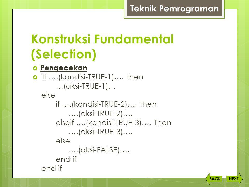 Konstruksi Fundamental (Selection) NEXTBACK  Pengecekan  If ….(kondisi-TRUE-1)…. then …(aksi-TRUE-1)… else if ….(kondisi-TRUE-2)…. then ….(aksi-TRUE