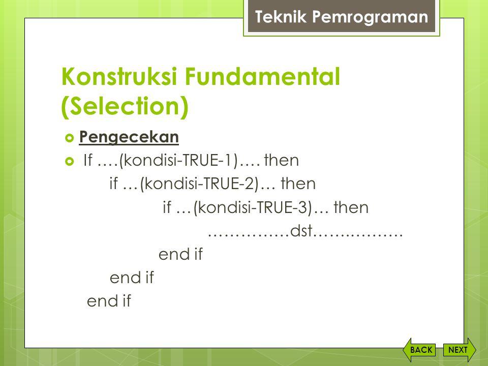 Konstruksi Fundamental (Selection) NEXTBACK  Pengecekan  If ….(kondisi-TRUE-1)…. then if …(kondisi-TRUE-2)… then if …(kondisi-TRUE-3)… then ……………dst