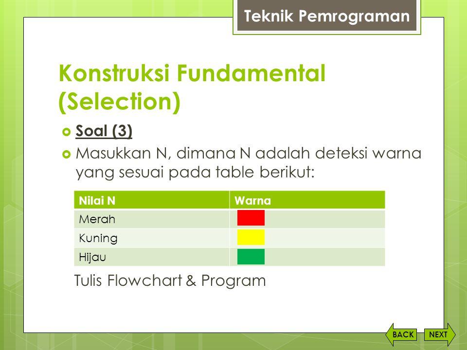 Konstruksi Fundamental (Selection) NEXTBACK  Soal (3)  Masukkan N, dimana N adalah deteksi warna yang sesuai pada table berikut: Tulis Flowchart & P