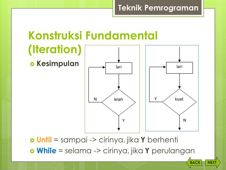 Konstruksi Fundamental (Iteration) NEXTBACK Teknik Pemrograman  Kesimpulan  Until = sampai -> cirinya, jika Y berhenti  While = selama -> cirinya,
