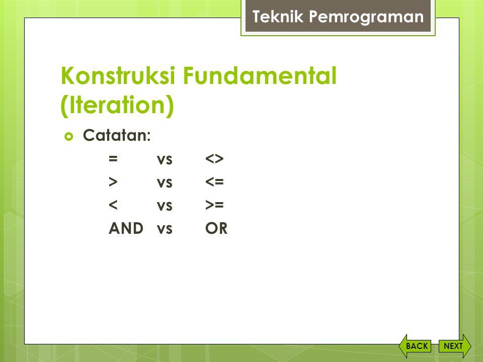 Konstruksi Fundamental (Iteration) NEXTBACK Teknik Pemrograman  Catatan: =vs <> >vs<= = AND vsOR