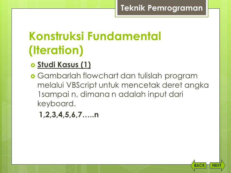 Konstruksi Fundamental (Iteration) NEXTBACK  Studi Kasus (1)  Gambarlah flowchart dan tulislah program melalui VBScript untuk mencetak deret angka 1