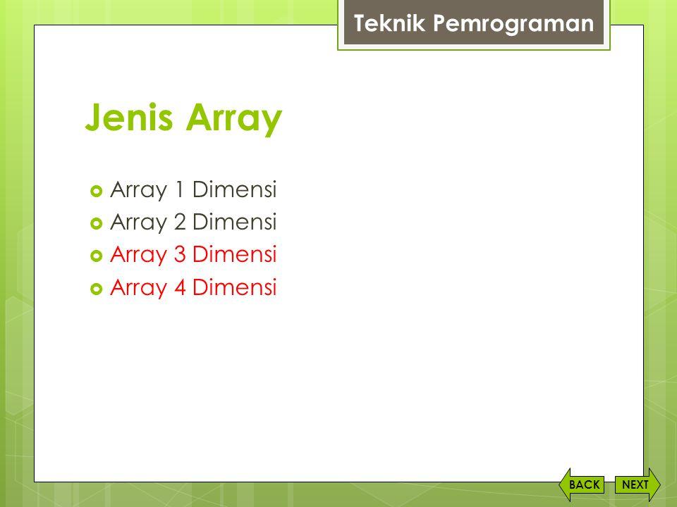 Jenis Array NEXTBACK  Array 1 Dimensi  Array 2 Dimensi  Array 3 Dimensi  Array 4 Dimensi Teknik Pemrograman