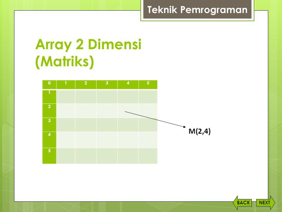Array 2 Dimensi (Matriks) NEXTBACK Teknik Pemrograman 012345 1 2 3 4 5 M(2,4)