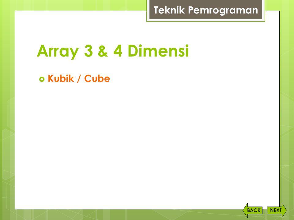 Array 3 & 4 Dimensi NEXTBACK Teknik Pemrograman  Kubik / Cube