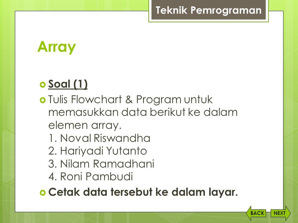 Array NEXTBACK  Soal (1)  Tulis Flowchart & Program untuk memasukkan data berikut ke dalam elemen array. 1. Noval Riswandha 2. Hariyadi Yutanto 3. N
