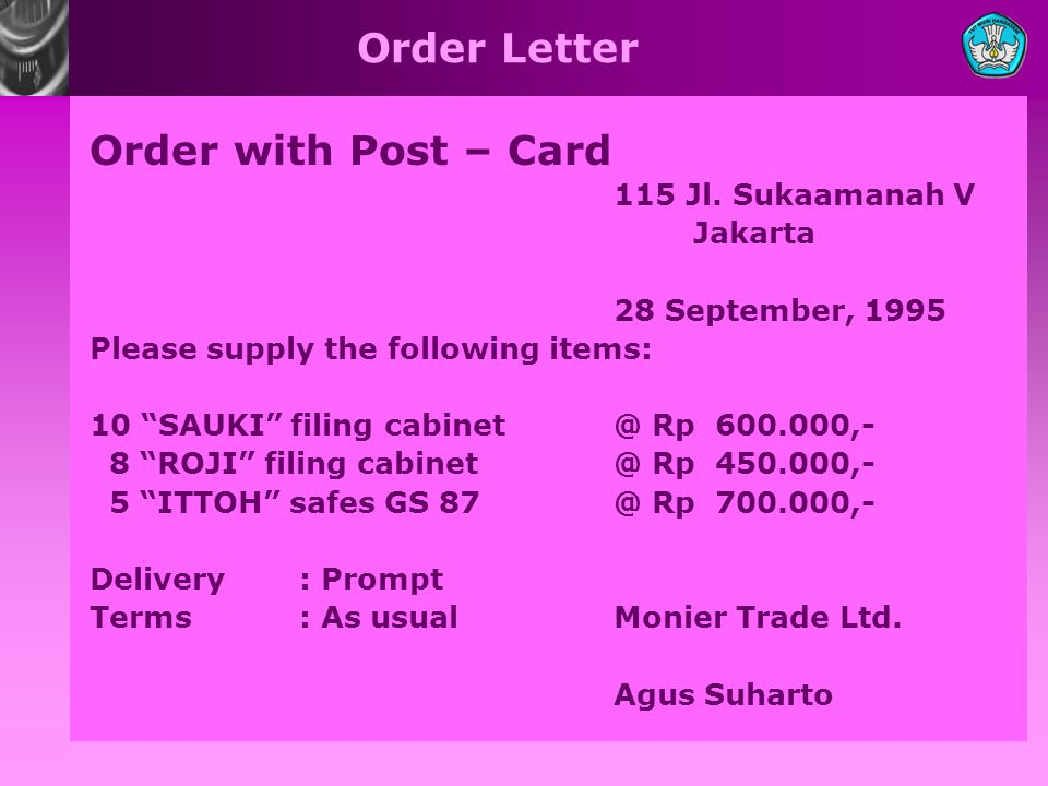 Order Letter Order with Post – Card 115 Jl.