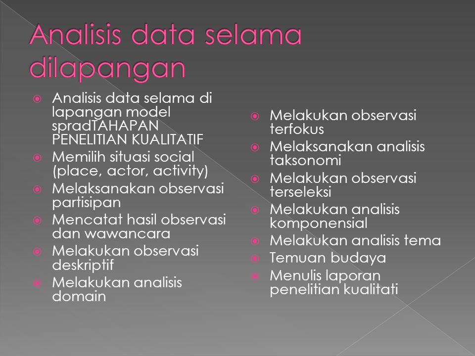  Analisis data selama di lapangan model spradTAHAPAN PENELITIAN KUALITATIF  Memilih situasi social (place, actor, activity)  Melaksanakan observasi