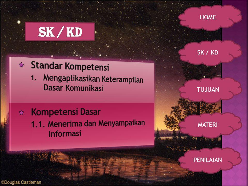 SK / KD TUJUAN MATERI PENILAIAN