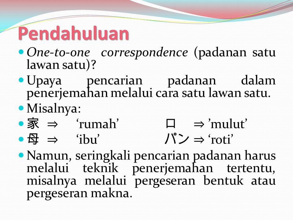 Teknik Penerjemahan  Transposisi (Pergeseran Bentuk)  Suatu teknik penerjemahan yang meliputi perubahan bentuk gramatikal dari BSu ke BSa (Newmark, 1988:85).