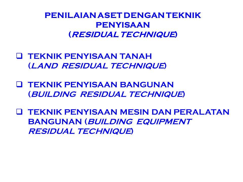 PENILAIAN ASET DENGAN TEKNIK PENYISAAN (RESIDUAL TECHNIQUE)  TEKNIK PENYISAAN TANAH (LAND RESIDUAL TECHNIQUE)  TEKNIK PENYISAAN BANGUNAN (BUILDING R