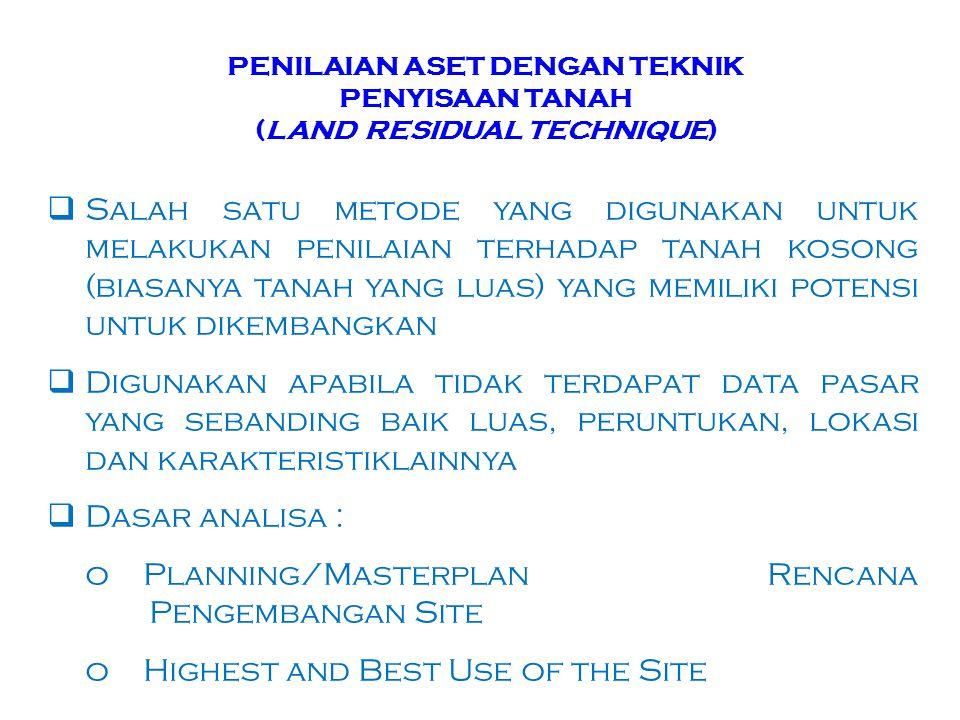 PENILAIAN ASET DENGAN TEKNIK PENYISAAN TANAH (LAND RESIDUAL TECHNIQUE)  Salah satu metode yang digunakan untuk melakukan penilaian terhadap tanah kos