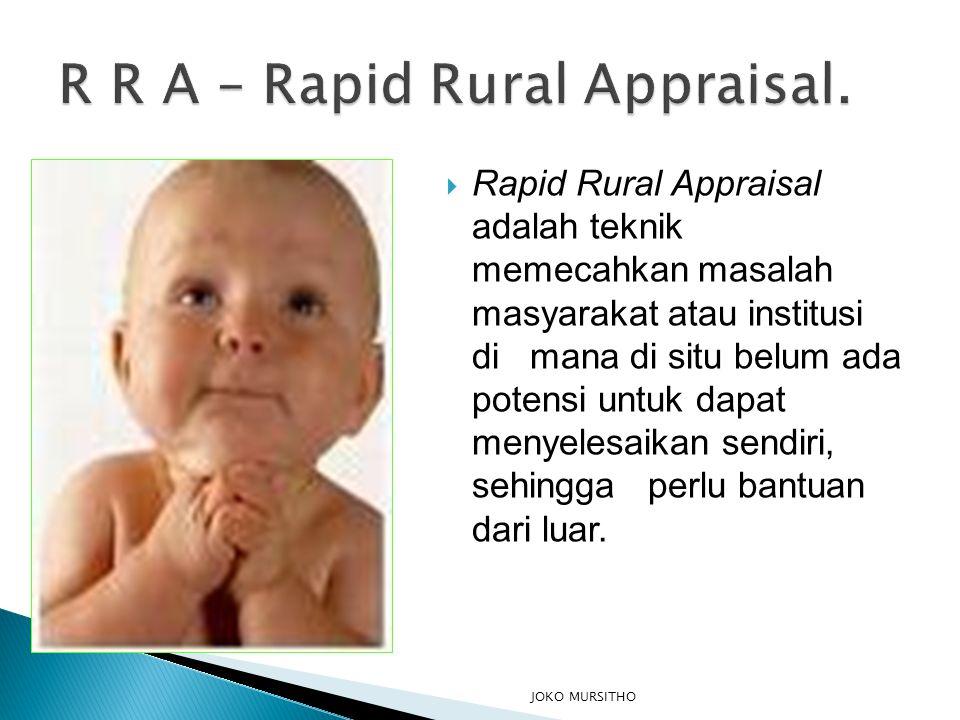  Rapid Rural Appraisal adalah teknik memecahkan masalah masyarakat atau institusi di mana di situ belum ada potensi untuk dapat menyelesaikan sendiri, sehingga perlu bantuan dari luar.