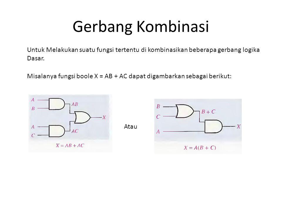 Gerbang Kombinasi Untuk Melakukan suatu fungsi tertentu di kombinasikan beberapa gerbang logika Dasar. Misalanya fungsi boole X = AB + AC dapat digamb