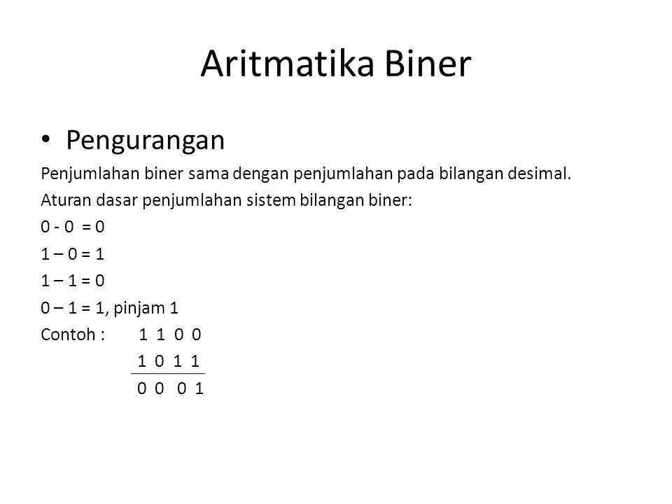 Aritmatika Biner • Pengurangan Penjumlahan biner sama dengan penjumlahan pada bilangan desimal. Aturan dasar penjumlahan sistem bilangan biner: 0 - 0