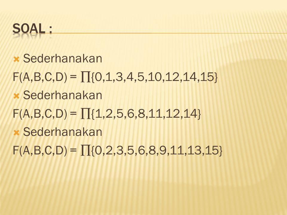  Sederhanakan F(A,B,C,D) = ∏{0,1,3,4,5,10,12,14,15}  Sederhanakan F(A,B,C,D) = ∏{1,2,5,6,8,11,12,14}  Sederhanakan F(A,B,C,D) = ∏{0,2,3,5,6,8,9,11,