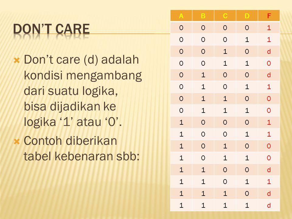  Don't care (d) adalah kondisi mengambang dari suatu logika, bisa dijadikan ke logika '1' atau '0'.  Contoh diberikan tabel kebenaran sbb: ABCDF 000