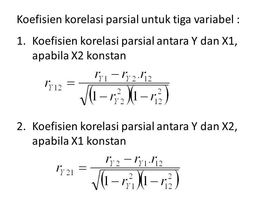 Koefisien korelasi parsial untuk tiga variabel : 1.Koefisien korelasi parsial antara Y dan X1, apabila X2 konstan 2.Koefisien korelasi parsial antara Y dan X2, apabila X1 konstan