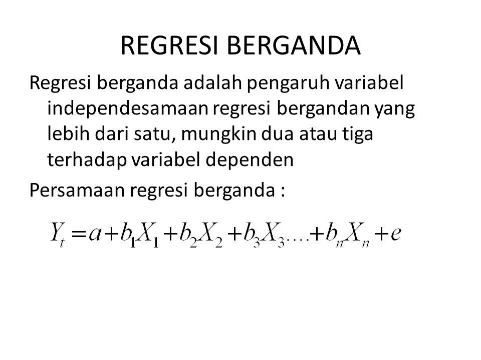 REGRESI BERGANDA Regresi berganda adalah pengaruh variabel independesamaan regresi bergandan yang lebih dari satu, mungkin dua atau tiga terhadap variabel dependen Persamaan regresi berganda :