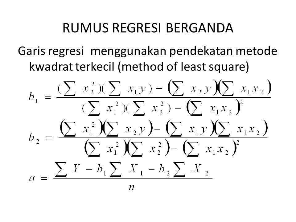 RUMUS REGRESI BERGANDA Garis regresi menggunakan pendekatan metode kwadrat terkecil (method of least square)