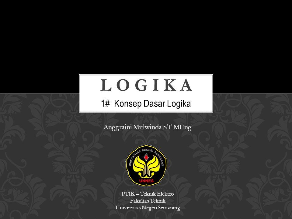 1# Konsep Dasar Logika PTIK – Teknik Elektro Fakultas Teknik Universitas Negeri Semarang Anggraini Mulwinda ST MEng