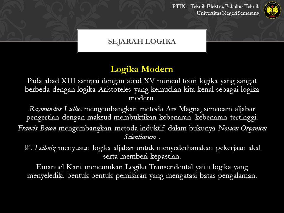 Logika Modern Pada abad XIII sampai dengan abad XV muncul teori logika yang sangat berbeda dengan logika Aristoteles yang kemudian kita kenal sebagai logika modern.