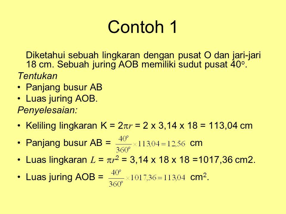 Sudut Pusat dan Sudut Keliling •Sudut pusat lingkaran adalah sudut yang dibentuk oleh dua buah jari-jari lingkaran. Titik sudutnya merupakan pusat lin