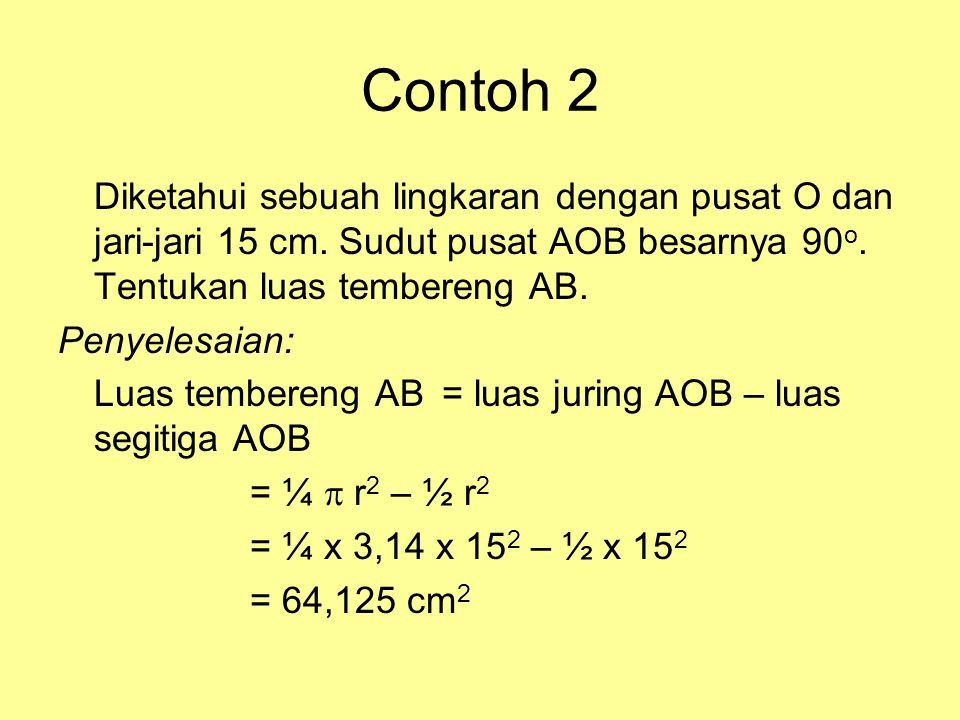 Contoh 1 Diketahui sebuah lingkaran dengan pusat O dan jari-jari 18 cm. Sebuah juring AOB memiliki sudut pusat 40 o. Tentukan •Panjang busur AB •Luas