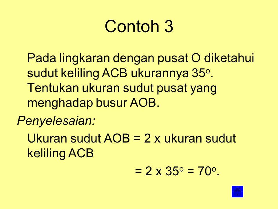 Contoh 2 Diketahui sebuah lingkaran dengan pusat O dan jari-jari 15 cm. Sudut pusat AOB besarnya 90 o. Tentukan luas tembereng AB. Penyelesaian: Luas