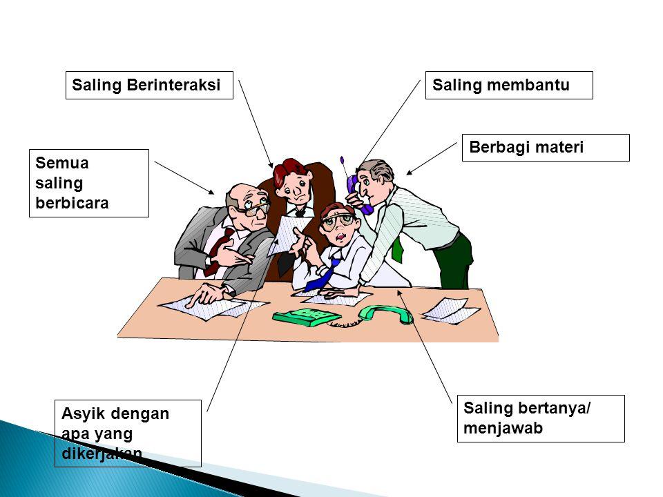 Saling BerinteraksiSaling membantu Semua saling berbicara Asyik dengan apa yang dikerjakan Berbagi materi Saling bertanya/ menjawab