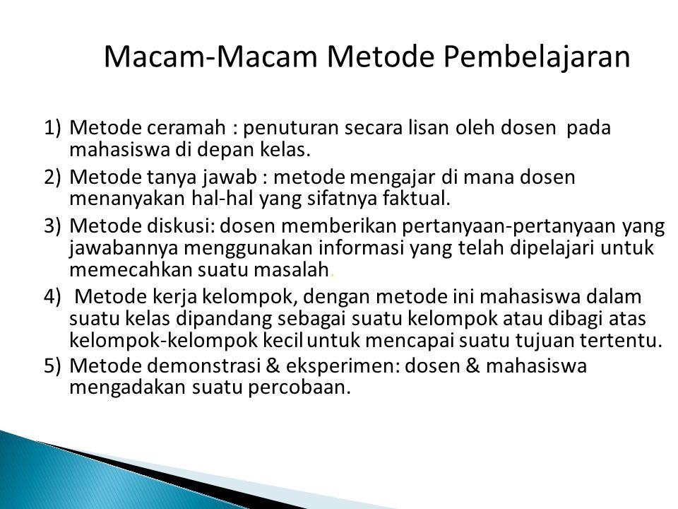 Macam-Macam Metode Pembelajaran 1)Metode ceramah : penuturan secara lisan oleh dosen pada mahasiswa di depan kelas.