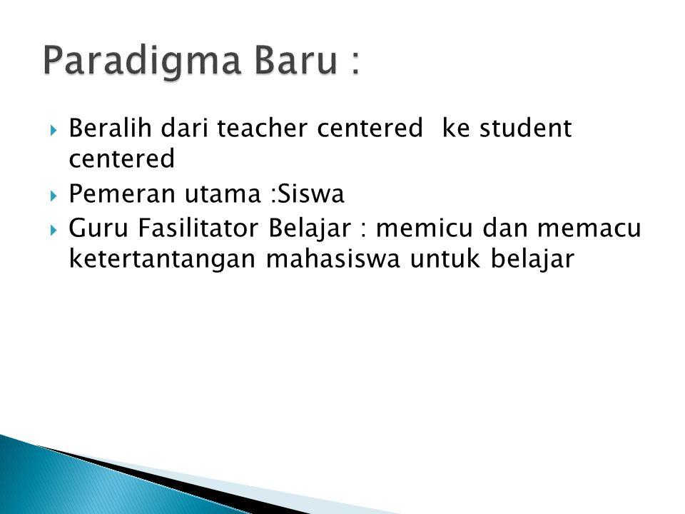  Beralih dari teacher centered ke student centered  Pemeran utama :Siswa  Guru Fasilitator Belajar : memicu dan memacu ketertantangan mahasiswa untuk belajar
