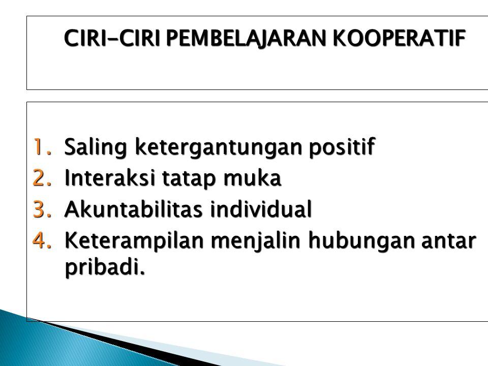 CIRI-CIRI PEMBELAJARAN KOOPERATIF 1.Saling ketergantungan positif 2.Interaksi tatap muka 3.Akuntabilitas individual 4.Keterampilan menjalin hubungan antar pribadi.