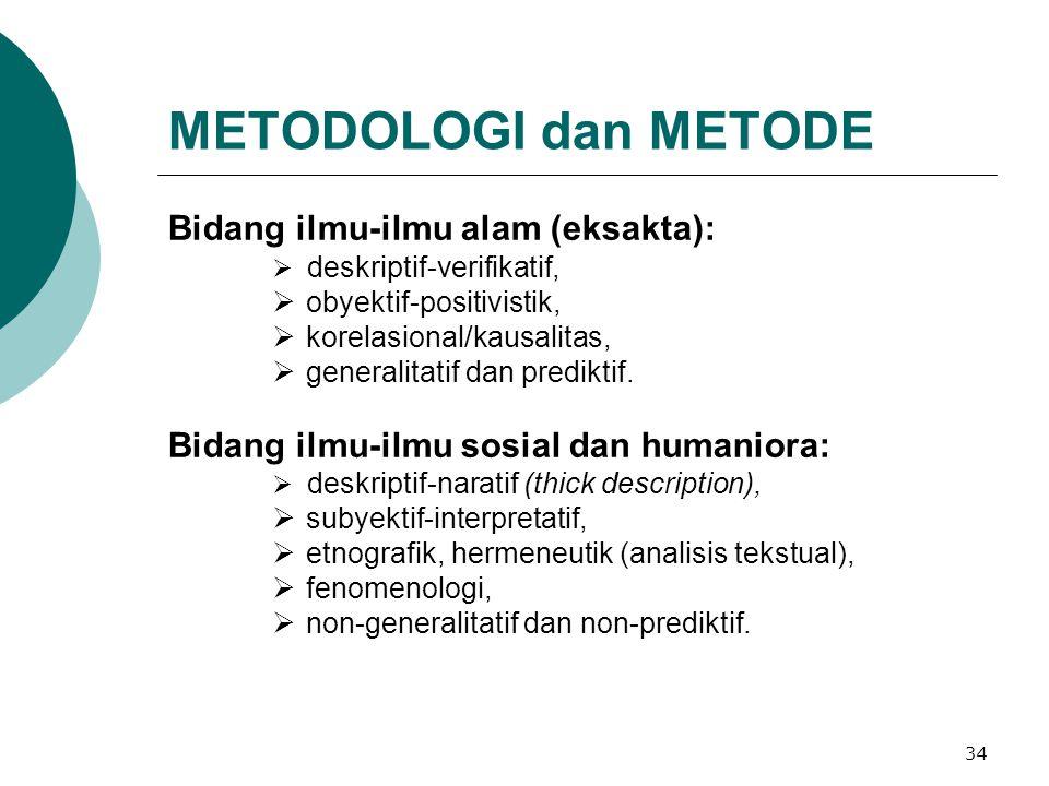 34 METODOLOGI dan METODE Bidang ilmu-ilmu alam (eksakta):  deskriptif-verifikatif,  obyektif-positivistik,  korelasional/kausalitas,  generalitatif dan prediktif.