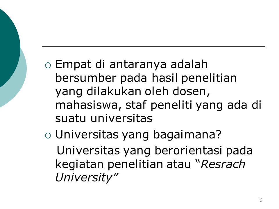  Empat di antaranya adalah bersumber pada hasil penelitian yang dilakukan oleh dosen, mahasiswa, staf peneliti yang ada di suatu universitas  Universitas yang bagaimana.