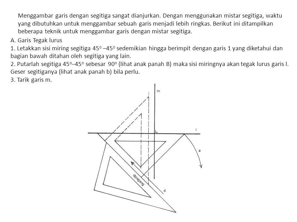 Menggambar garis dengan segitiga sangat dianjurkan.