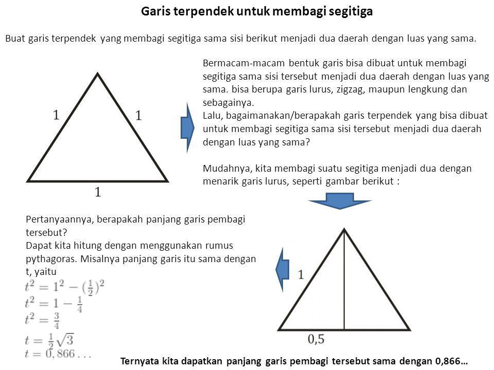 Garis terpendek untuk membagi segitiga Buat garis terpendek yang membagi segitiga sama sisi berikut menjadi dua daerah dengan luas yang sama.