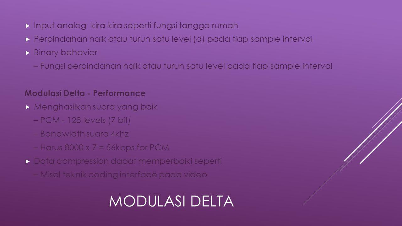 MODULASI DELTA  Input analog kira-kira seperti fungsi tangga rumah  Perpindahan naik atau turun satu level (d) pada tiap sample interval  Binary behavior – Fungsi perpindahan naik atau turun satu level pada tiap sample interval Modulasi Delta - Performance  Menghasilkan suara yang baik – PCM - 128 levels (7 bit) – Bandwidth suara 4khz – Harus 8000 x 7 = 56kbps for PCM  Data compression dapat memperbaiki seperti – Misal teknik coding interface pada video