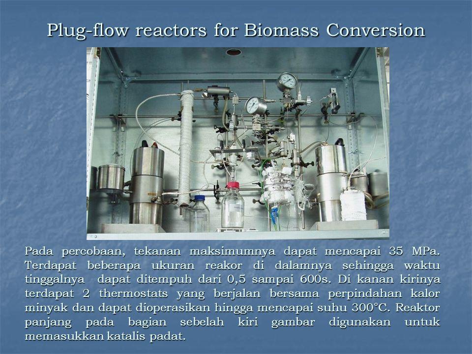 Plug-flow reactors for Biomass Conversion Pada percobaan, tekanan maksimumnya dapat mencapai 35 MPa. Terdapat beberapa ukuran reakor di dalamnya sehin