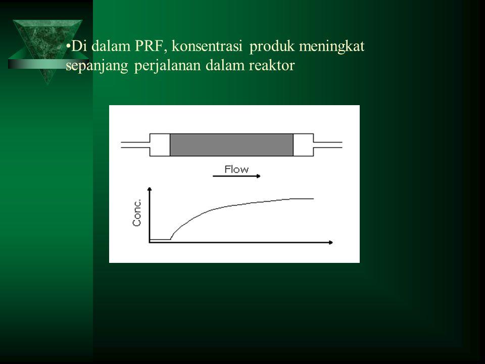 •Di dalam PRF, konsentrasi produk meningkat sepanjang perjalanan dalam reaktor
