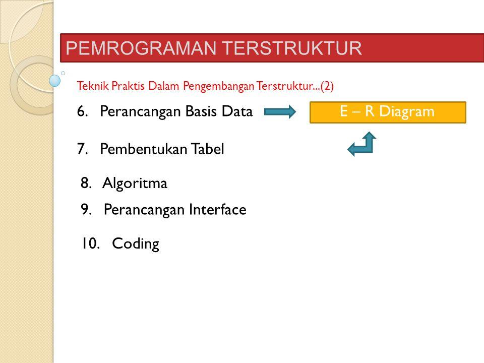 PEMROGRAMAN TERSTRUKTUR Teknik Praktis Dalam Pengembangan Terstruktur...(2) 6. Perancangan Basis Data E – R Diagram 7. Pembentukan Tabel 8. Algoritma